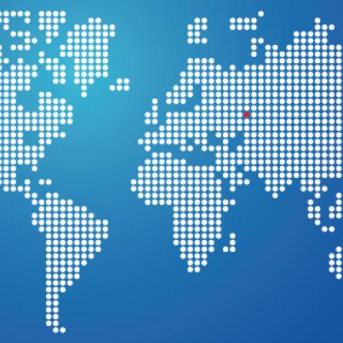 Digitális világtérkép egy piros ponttal Magyarország helyén,startup,kockázati tőke,befektetés,amerikai tőke,vállalkozás,vállalkozó,lean,validáció,Jeremie,ötlet,befektető